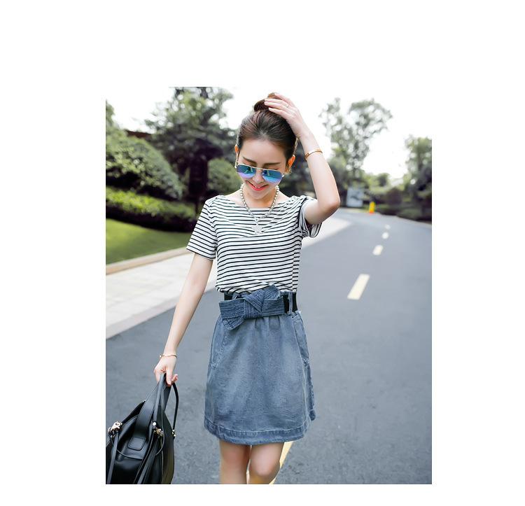 7f8981c1f79 Get Quotations · Summer Dress 2015 Women s Stripe Patchwork Denim Dress  Short Sleeve Casual Dress adjustable waistband Short Denim