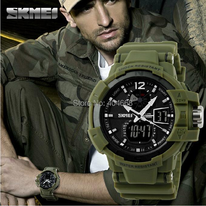На открытом воздухе мужчины спорт часы SKMEI марка из светодиодов цифровой кварцевый многофункционально водонепроницаемый военный часы платье наручные часы