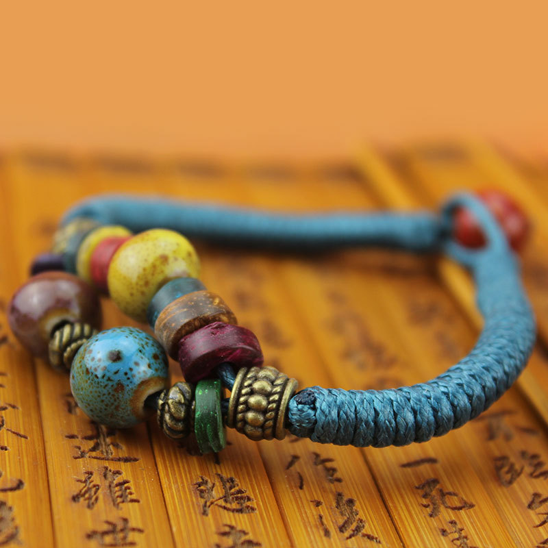 Горячие продаж Diy этика мода керамические браслеты для женщин подарки китайский национальный стиль бусины и вуд ювелирные изделия Sl0088