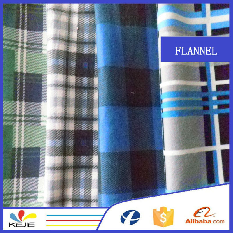Cotton Kids Shirt Fabric Flannel Material With Plaid Printing