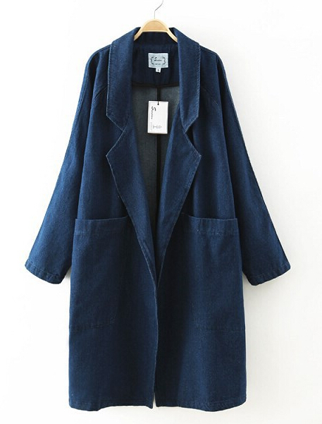 EY0488C Women Light Washed Denim Overcoats Long Trench Coats for wholesale