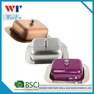Stainless Steel Metal Butter Dish With Customised Finished Lid