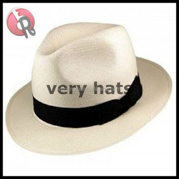 Custom fashion classic summer white wide brim paper straw panama fedora beach sun man with black band