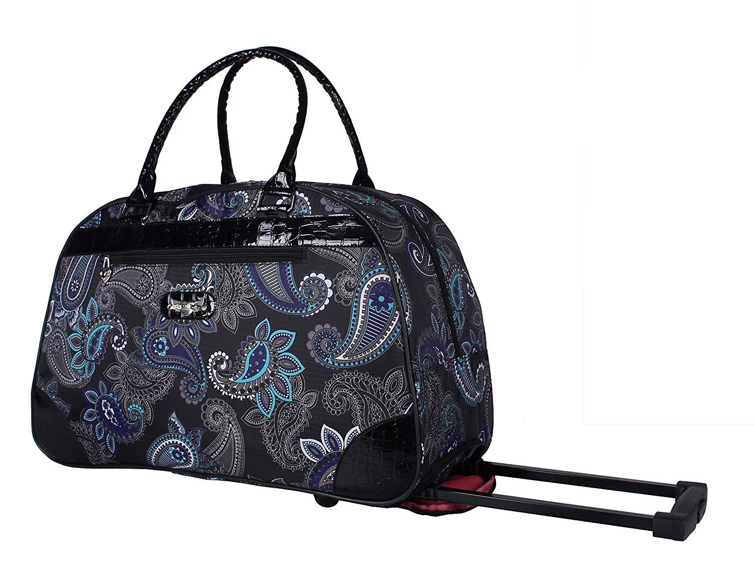 dff49ec329e7 Get Quotations · Kathy Van Zeeland Luggage 22 Inch Rolling Carry On Printed  Wheeled Duffel (Diva Black