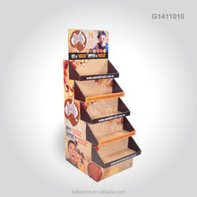 Cardboard Advertising Floor Standing Restaurant Menu Display Stand