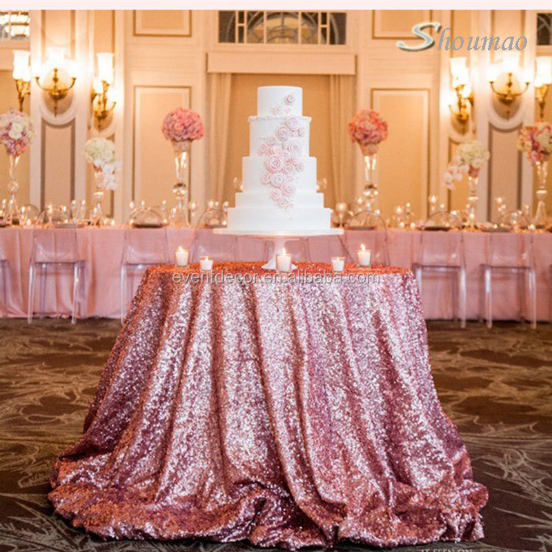 Blush Champagne Sequin Table Cloth , Custom Made Color Cloth For Weddings  Decor