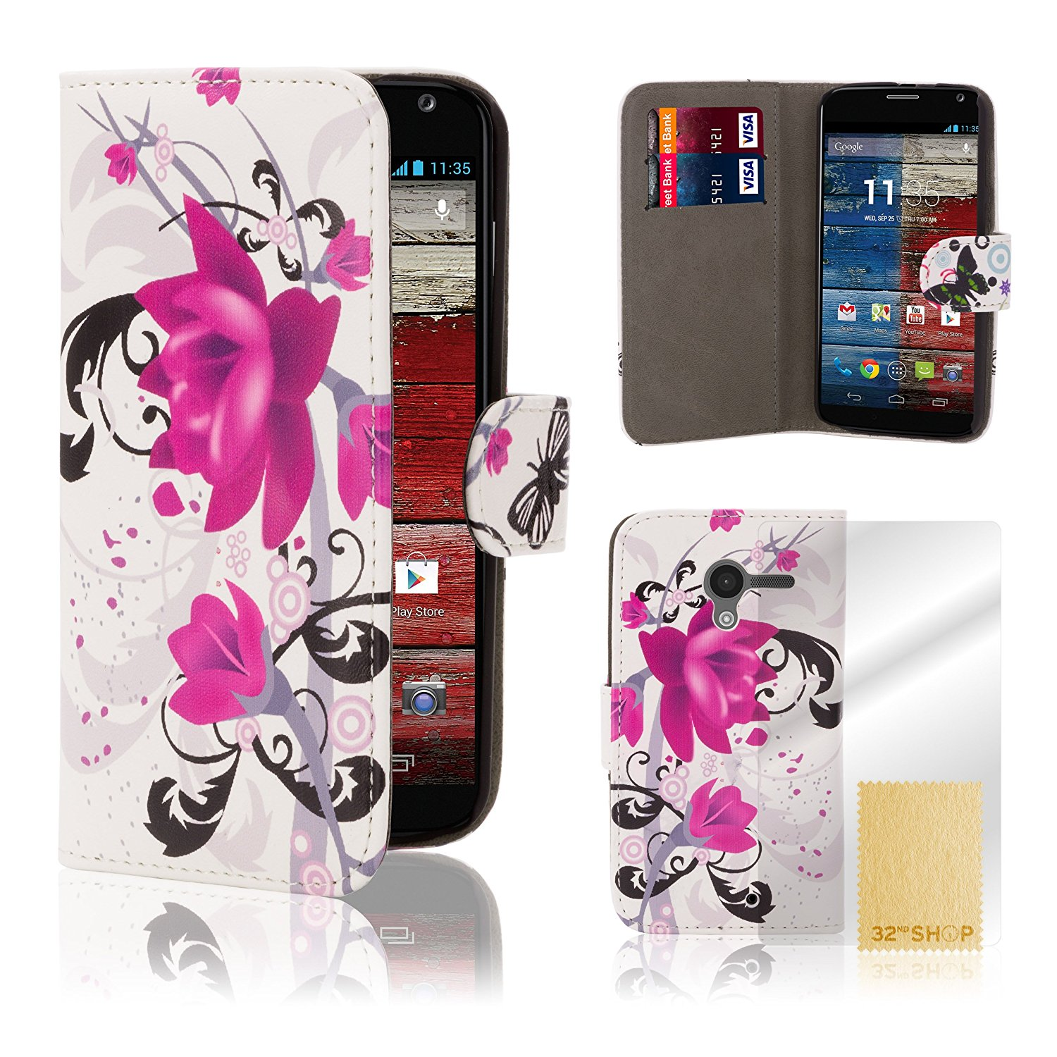 Motorola Moto X Designer Wallet Case by 32nd Premium PU Leather Book Style Design Cover for Motorola Moto X (2013), Including Film Screen Protector - Purple Rose