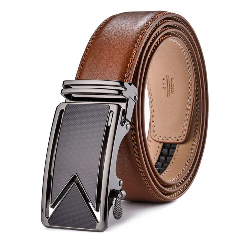 Chiffoned Men Belt 2018 Cowhide Genuine Leather Belts For Men Luxury Automatic Buckle Belts Brown Black Cinturones Hombre