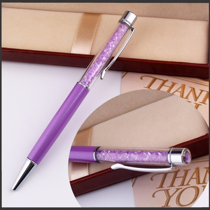 glitter imprinted plastic floating pen with 2d floater