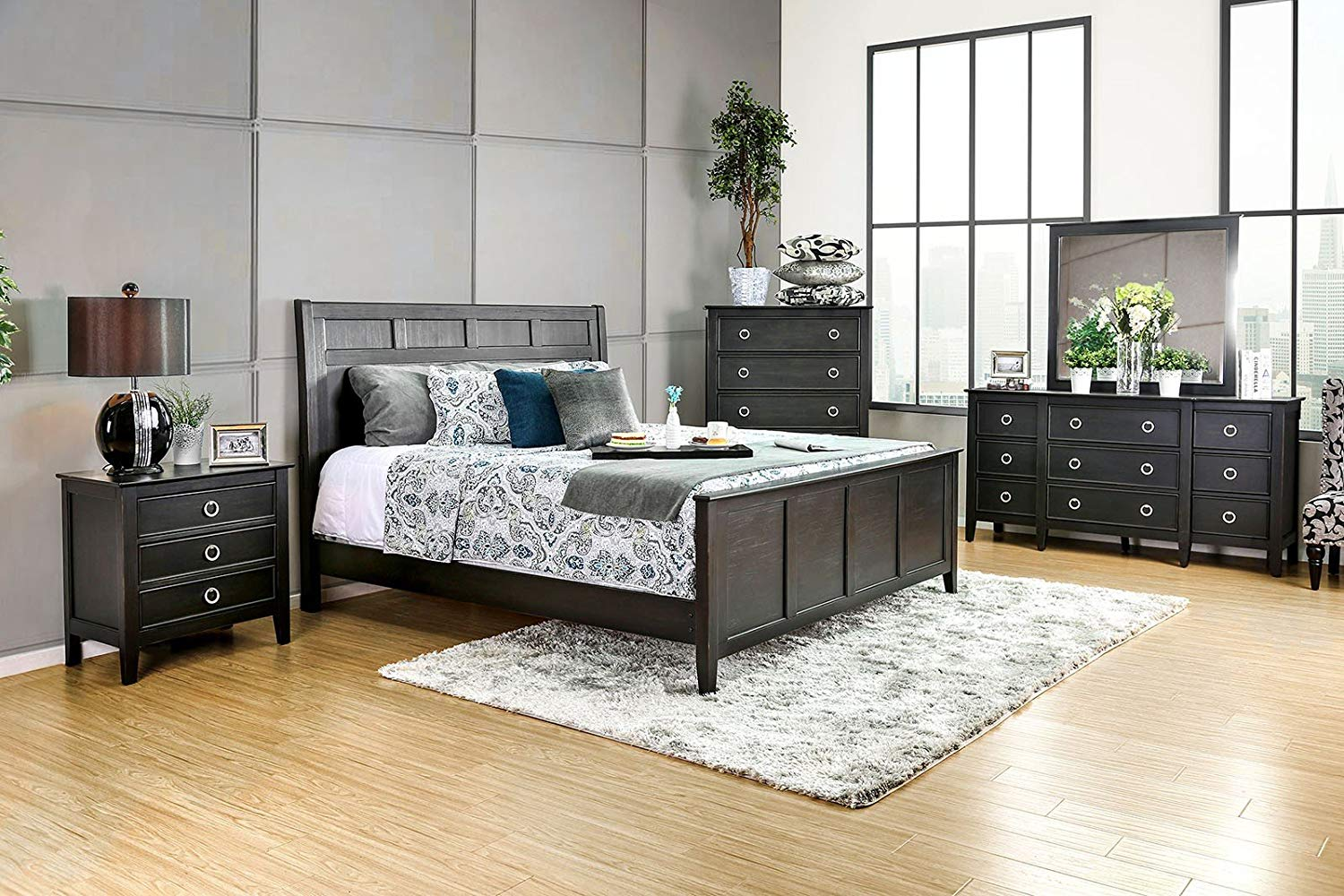 Get Quotations · New Modern Wire Brushed Black Finish 4pc Set Eastern King  Size Bed Dresser Mirror Nightstand