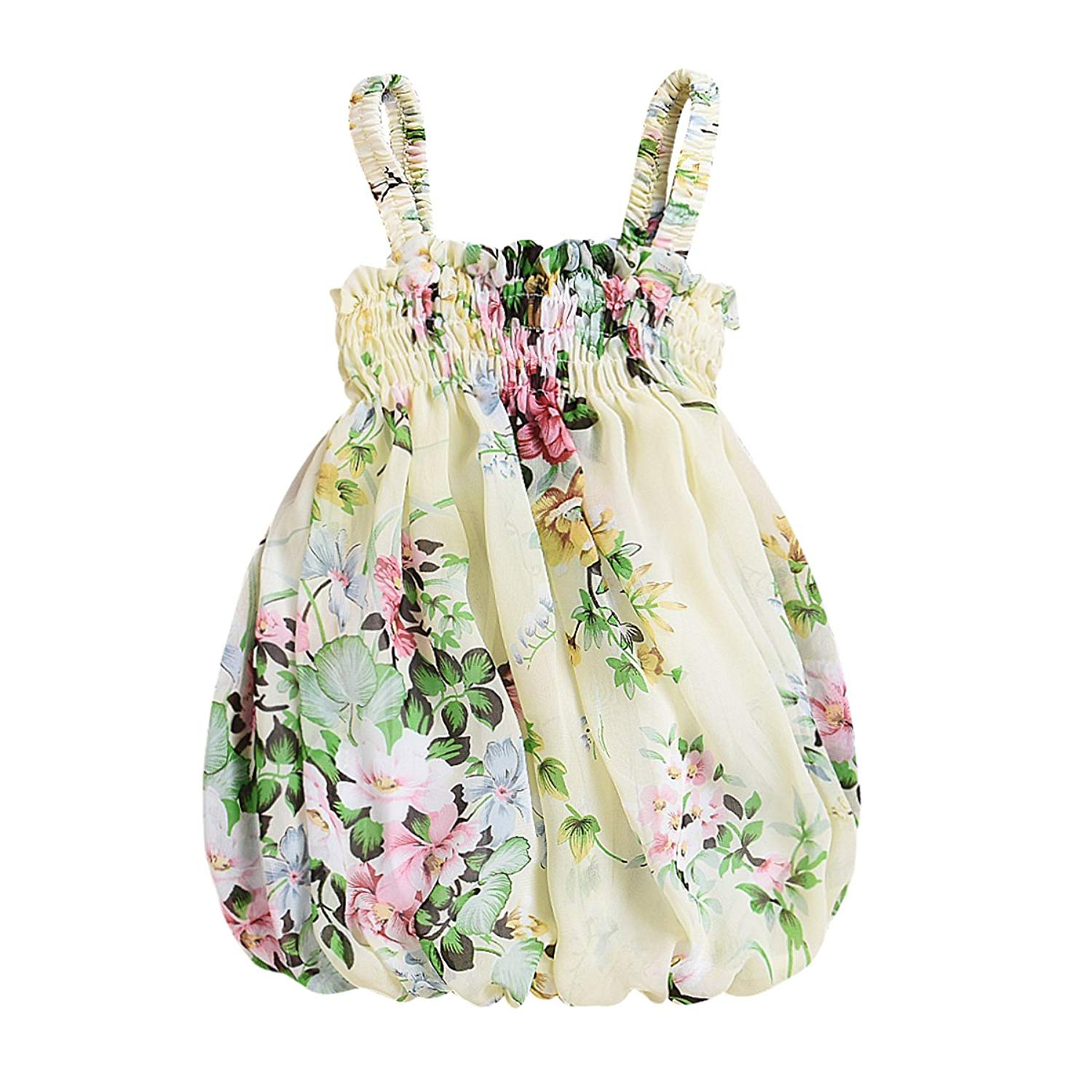 puseky Baby Girl Yellow Floral Halter Fluffy Strappy One Piece Bubble Dress Sundress