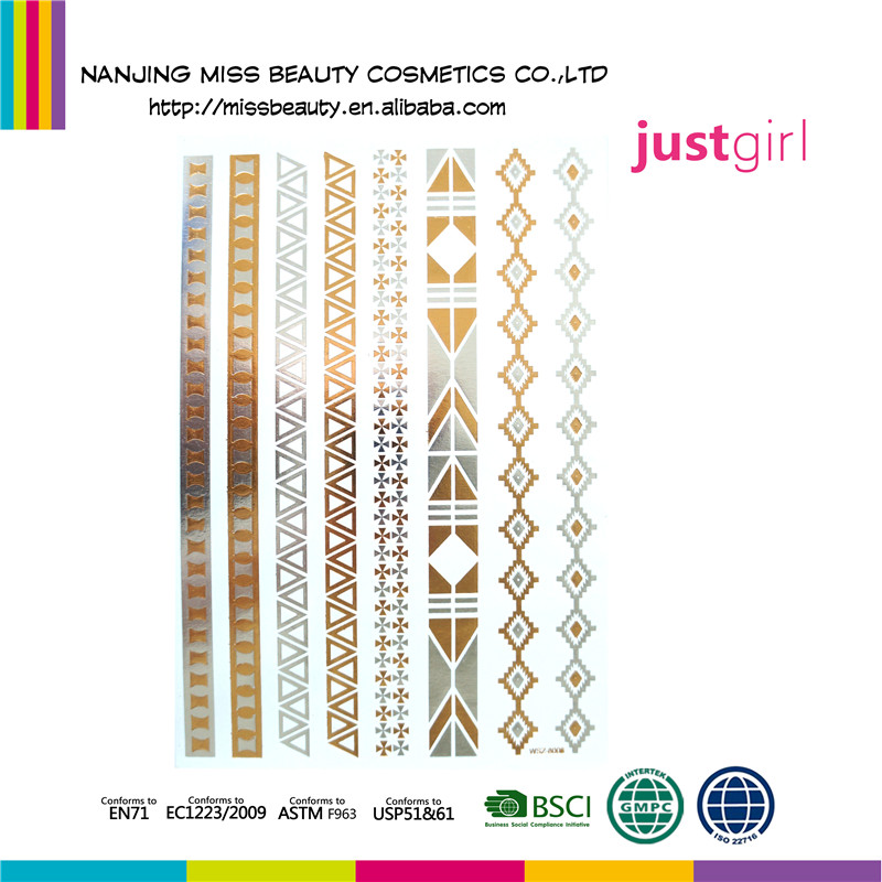 Alibaba Produk Terbaru Waterproof Bangle Pola Metallic Temporary Tattoo Sticker