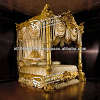 Antique furniture wood canopy carved bed with gold leaf BJ RC03