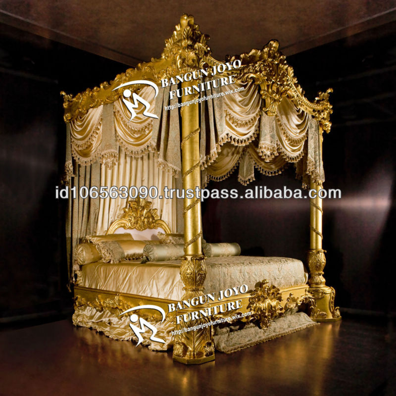 Antique Furniture Wood Canopy Carved Bed With Gold Leaf Bj Rc03 - Buy Luxury Royal Bed With Gold Leaf Italian DesignKing Carving Bed Canopy Antique Hand ... & Antique Furniture Wood Canopy Carved Bed With Gold Leaf Bj Rc03 ...