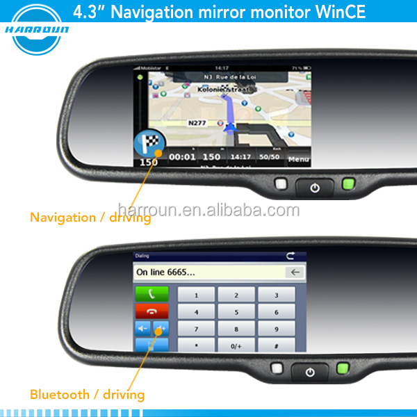 Wince 6.0 system car rearview mirror gps navigation backup camera display & bluetooth