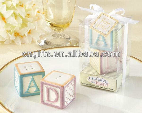 "2014""New Baby on the Block"" Ceramic Baby Blocks Salt & Pepper Shakers for Party Supplies and Baby Shower Favors"