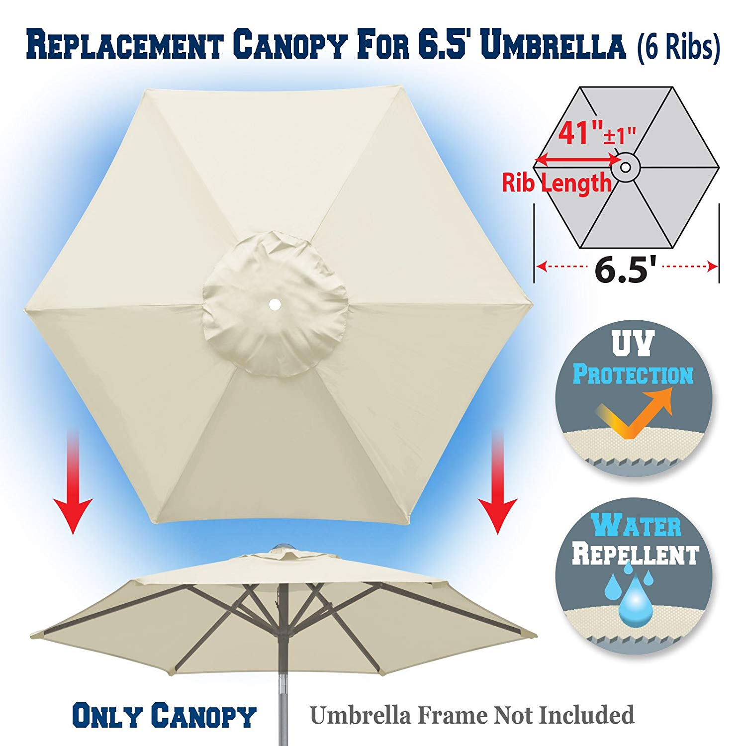 Get Quotations · BenefitUSA Replacement Umbrella Canopy Cover For 6.5ft 6  Ribs Patio Market Umbrella (CANOPY ONLY