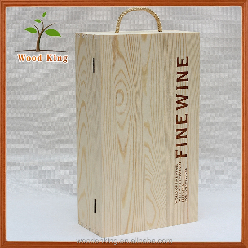 Made In China Manufacturer Foreign Red Wine Gift Pine Double Bottles General Version Organizer Storage Packaging Wood Box
