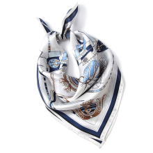 Women's Silk Square Neckerchief Square Neck Scarf office Ladies carriage chain key pattern satin silk printed pocket scarf