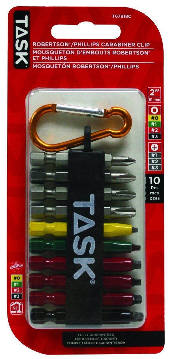 Task Tools T67918C Mixed Robertson/Phillips Drill Bit Set with Carabiner Clip, 10-Piece