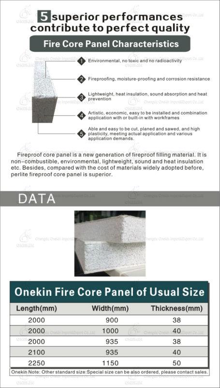 fireproof light magnesium oxide door core panel for wooden door steel door