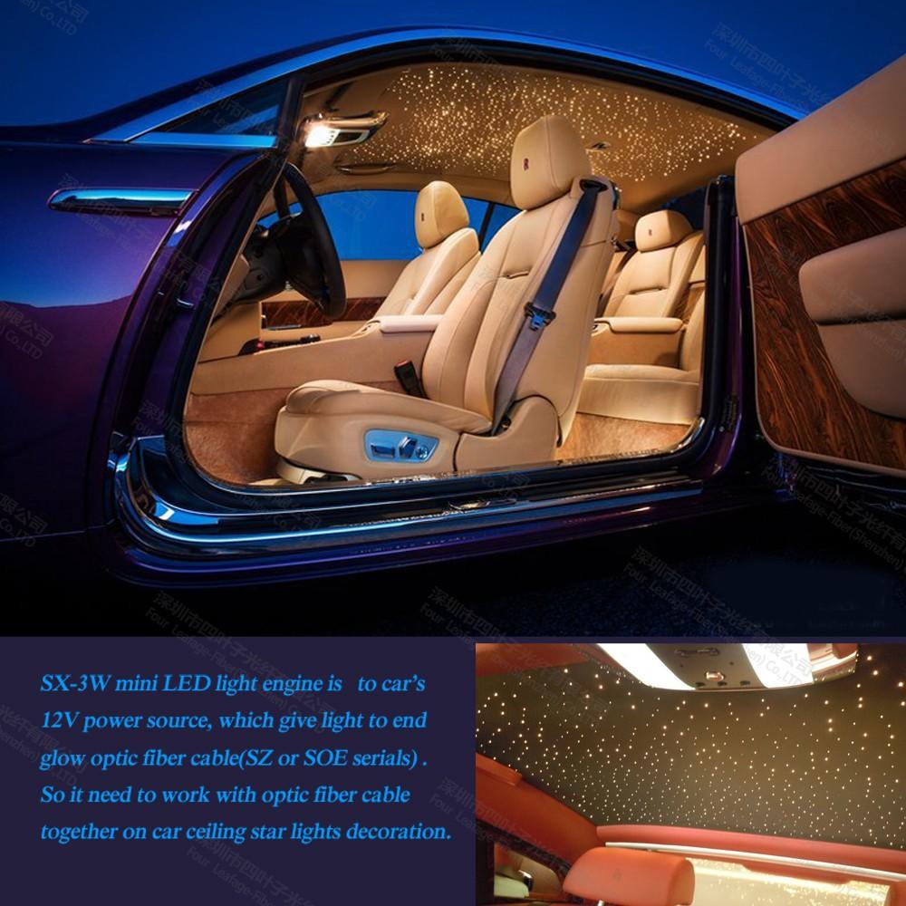 Led 3 w mini rvb à fiber optique lumière projecteur pour voiture intérieur lumière bus étape