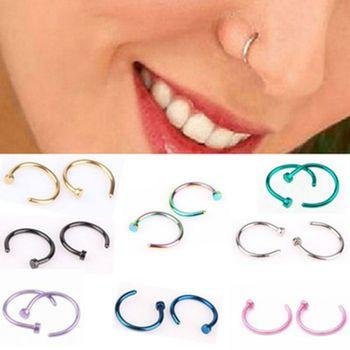 Fashion Septum Medical Titanium Silver Gold Nose Ring Body Clip