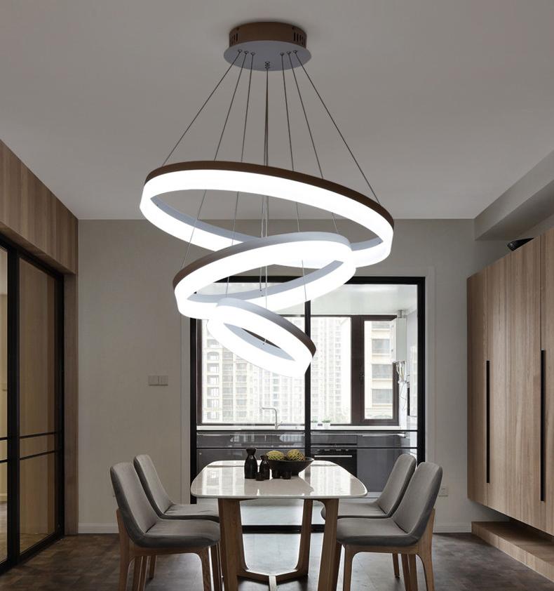modern hanging circle led pendant light circular chandelier lighting lampara colgante led office lamp