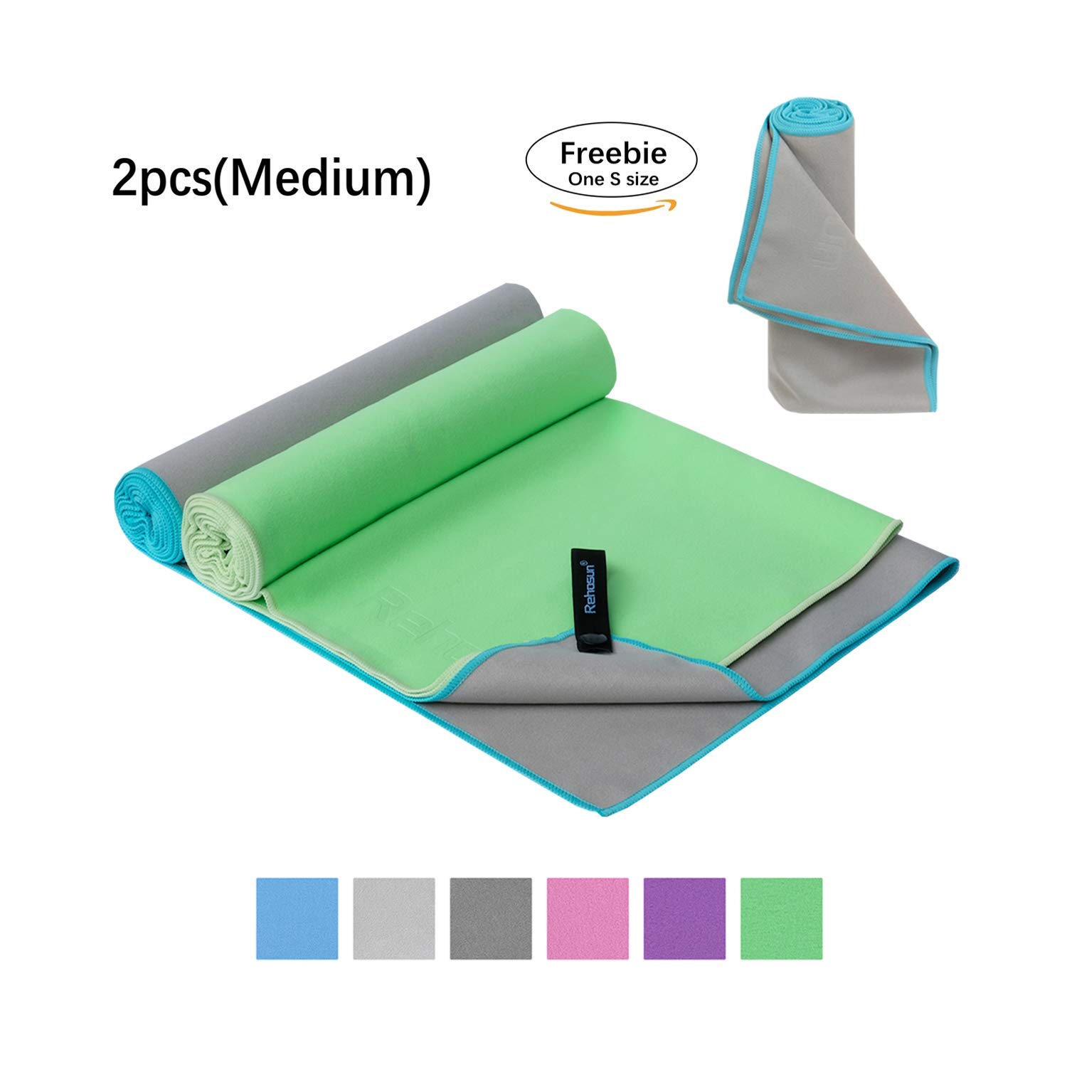 Rehosun Microfiber Towel Sports & Travel & Beach & Camping & Gym, Super Absorbent & Fast Drying
