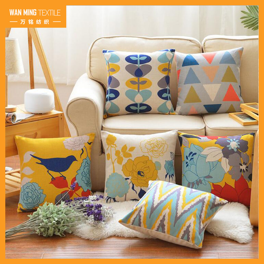 Fashion printing sofa car decorative baby pillow square linen cushion cover