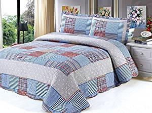 Auvoau Reversible Patchwork Plaid Floral Patch Bedspread Quilt Set Plaid quilt set 3-Pieces (8)