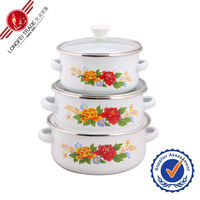 Cheap high quality enamel indian cookware with glass lid