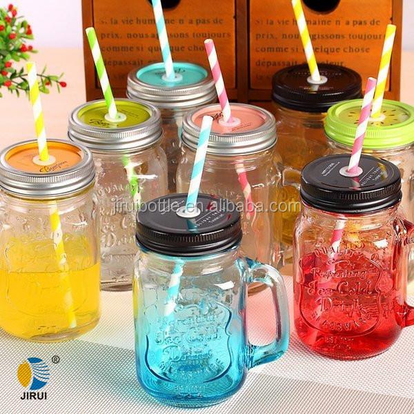400 ml botella de cristal tarros de cristal con color pintado al por mayor con tapas - Tarros De Vidrio