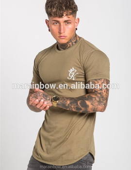 e0be5ac2a Gym Fitted Longline T-Shirt Mens Short Sleeve Curved Hem Tee Cotton Elastane  Tapered Fitness