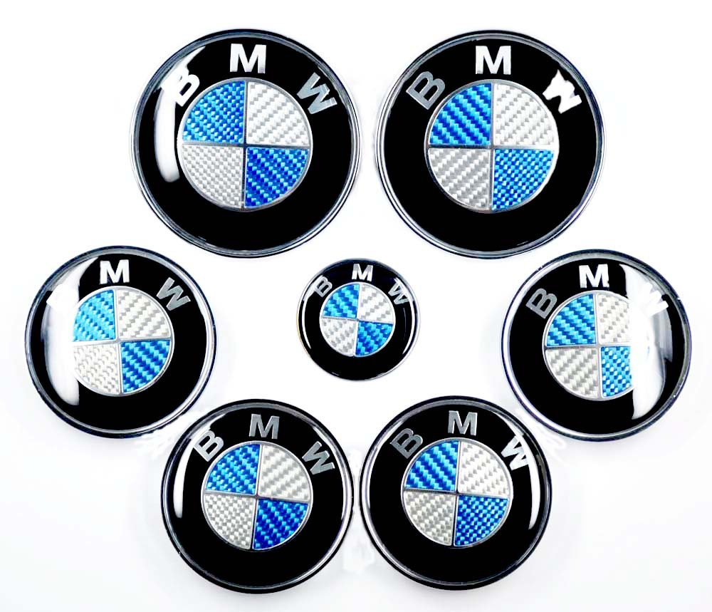 Angel Mall BMW 68mm Outer Diameter Carbon Fiber Black Wheel Center Hub Caps Cover 4-pc Set