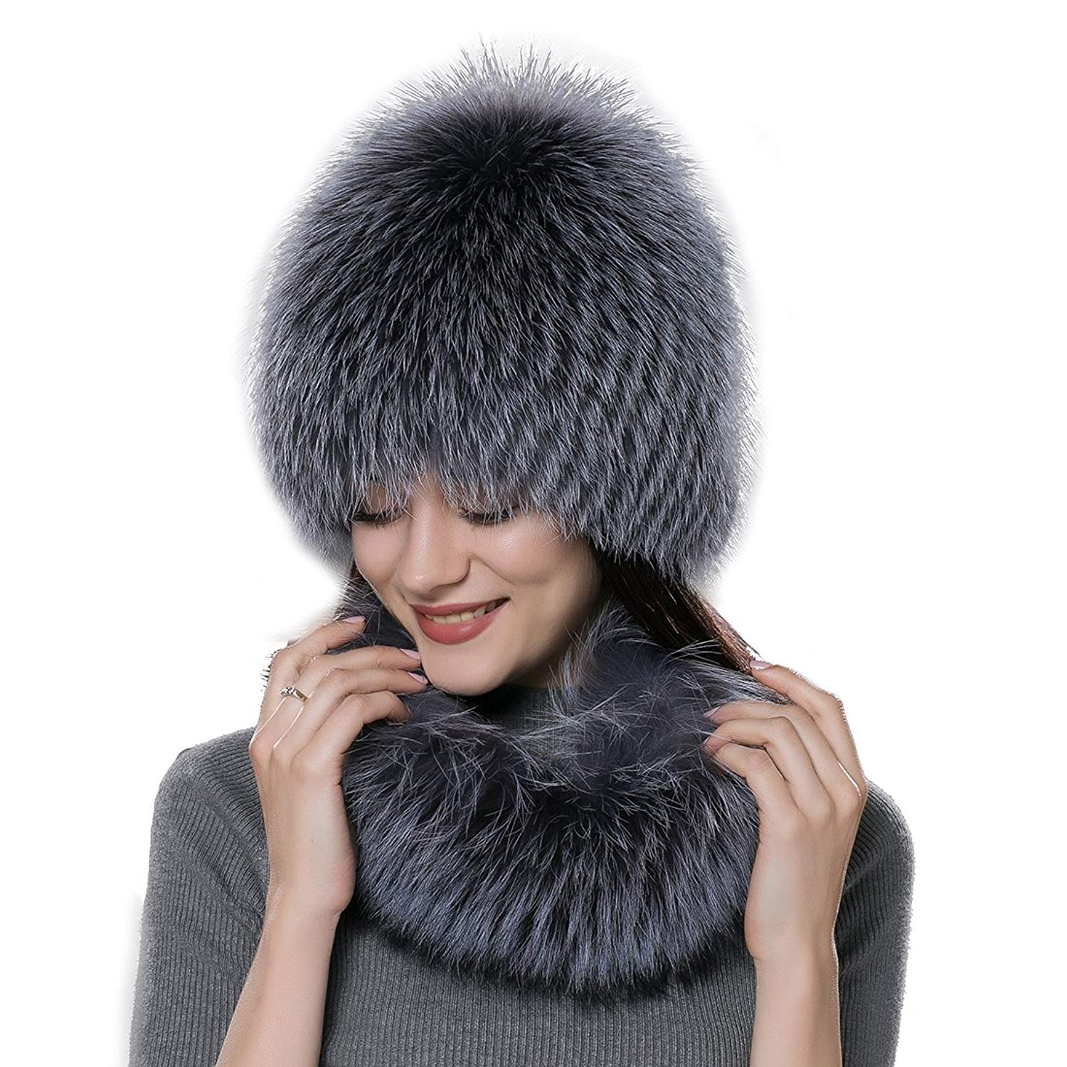 32d00522d01 Get Quotations · URSFUR Women Fur Wig Scarf Set Real Fox Fur Hat Wrap Winter  Accessories