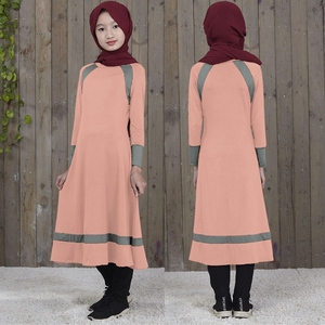 Fashion Lovely Stripes Color Kids Abaya Children Muslim Abaya
