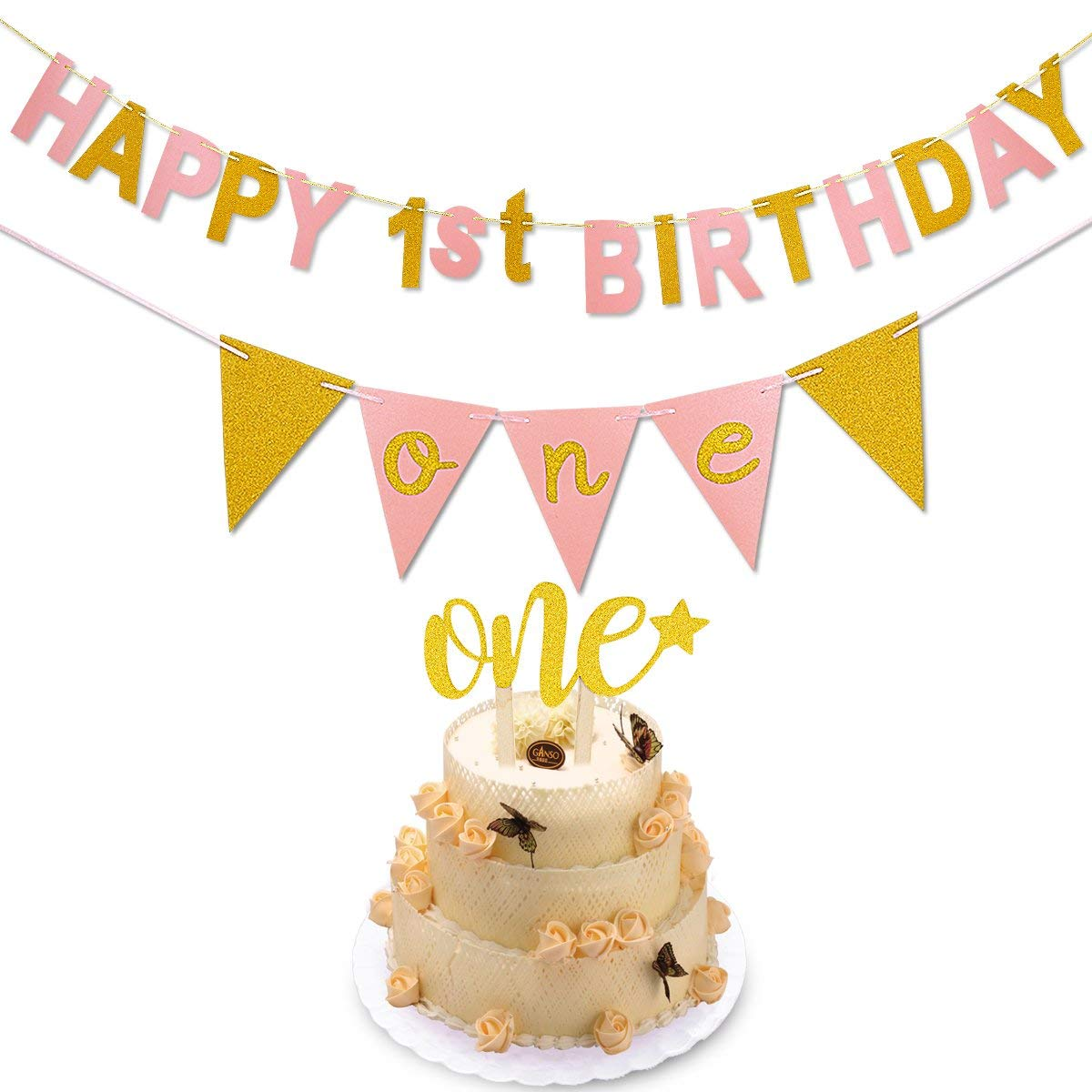 Get Quotations First Birthday DecorationGold Pink Happy 1st BannerOne Pennant Flags