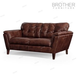 Luxury American style furniture classic brown living room two seat leather sofa