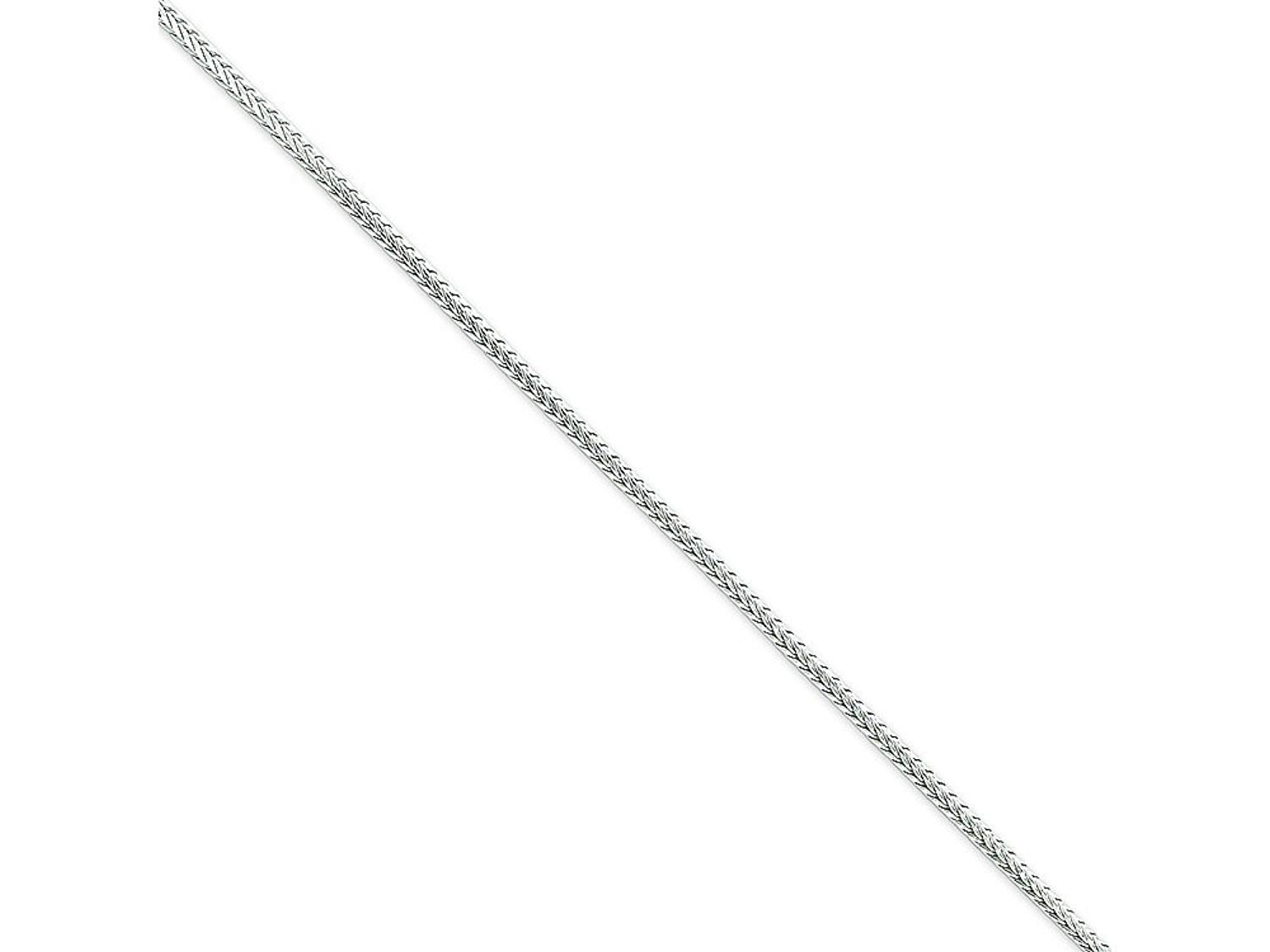 CloseoutWarehouse Rhodium Plated Sterling Silver Franco 230 Chain 2.3mm