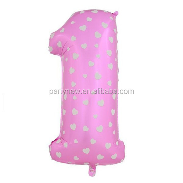 Decorated aluminium pink number foil balloon 1 one