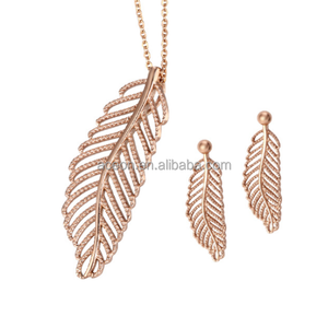 Yiwu Aceon China Factory Wholesale Stainless Steel Casting Rose Gold Fashion Leaf Jewelry Set