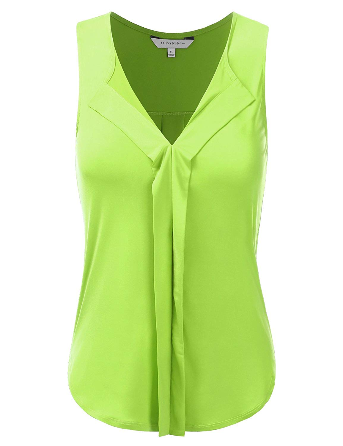 JJ Perfection Womens Sleeveless V-Neck Double Pleats Lycra Blouse Tank Top