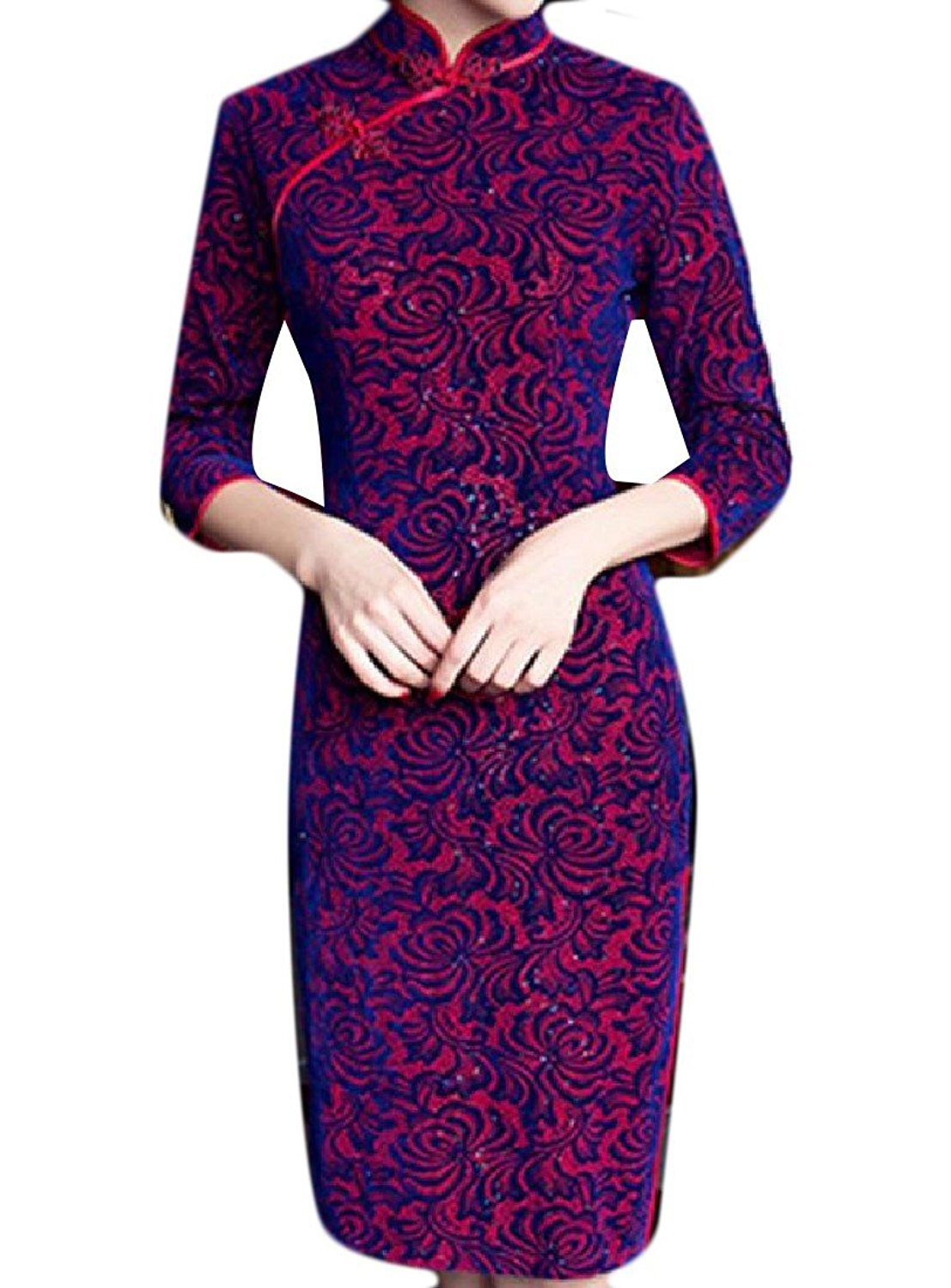 Sheng Xi Women's Stand Collar Chinese Floral Printing Side Slit Cheongsam