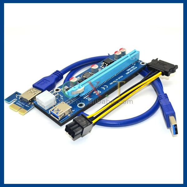 8x PCIe VER 006C 6 PIN 16x to 1x Powered Riser Adapter Card GPU riser cable    .