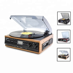 Stereo USB encode turntable multiple record player with radio cassette