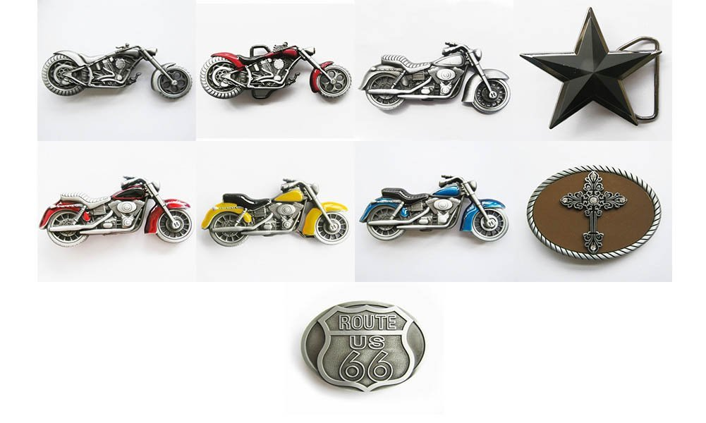 9 Pcs Shown As Picture Original Route Us 66 Motorcycle Biker Blue Heavy Motorcycle Rider Biker Heavy Motorcycle Biker Rider Red Heavy Motorcycle Rider Biker Black Star Original Heavy Motorcycle Red 3D Heavy Metal Motorcycle Gem Original 3D Heavy Metal Motorcycle Rhinestones Cross Belt Buckle