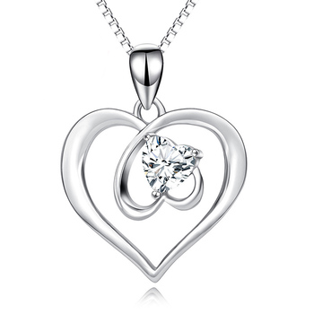 Valentine's Day Gift 925 Sterling Silver Jewelry Hollowing Double Heart Necklace For Women