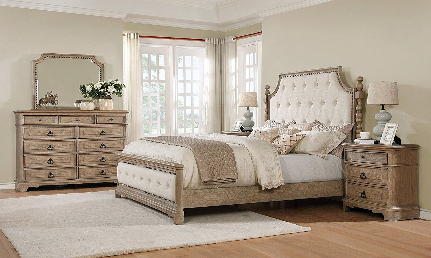 Roundhill Furniture B296QDMN2 Piraeus 296 Solid Wood Construction Bedroom Set with Queen Size Bed, Dresser 2, Mirror and 2 Night Stands