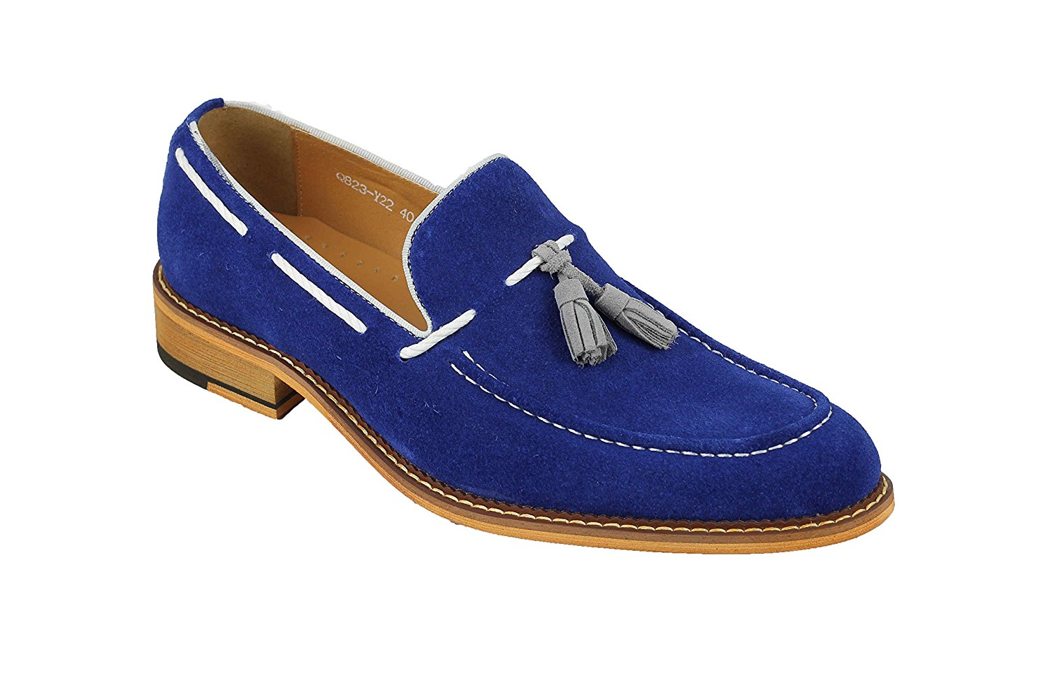 2237789925c78 Get Quotations · Xposed Mens Royal Blue Real Suede Leather Vintage White  Rope Tassel Loafers Slip On Shoes
